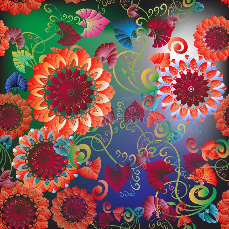 Kolorowego kwiecistego grka stylu wektorowy bezszwowy wz ilustracja wektor