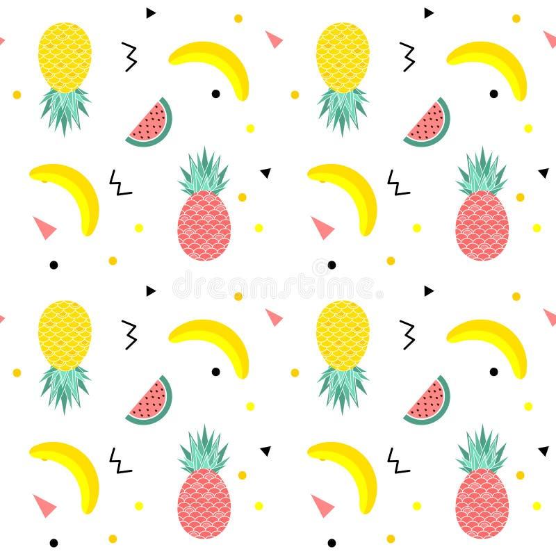 Kolorowego lata bezszwowy wzór z owoc, banan, arbuz i geometryczni elementy w Memphis, projektujemy tło ilustracja wektor