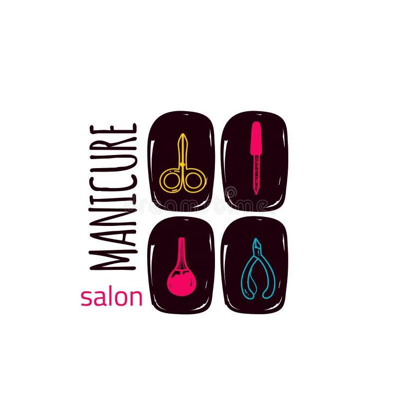 Kolorowego manicure'u pracowniany logo w liniowym stylu na gwoździach, makeup, dla piękno salonu, stylisty wektorowy oznakuje pro ilustracja wektor