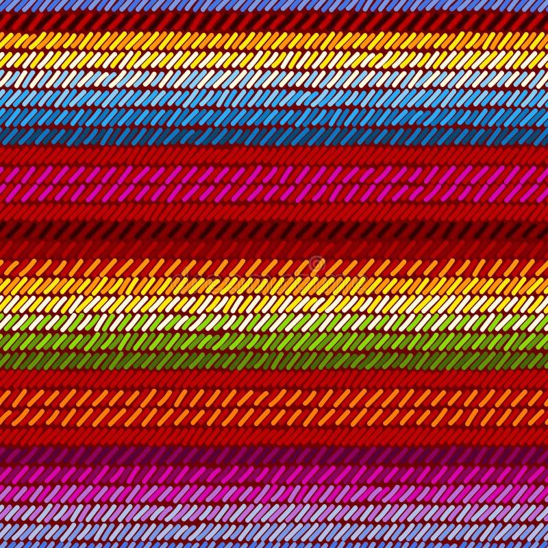 Kolorowego meksykańskiego serape powszechny dywanik wyplatający paskował tkanina bezszwowego wzór, wektor royalty ilustracja