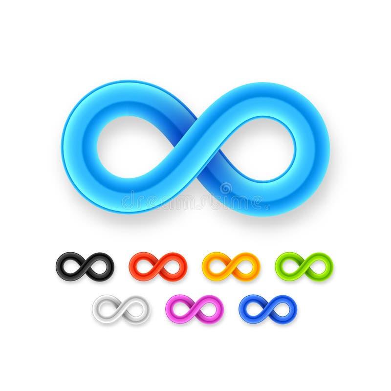 Kolorowego nieskończoność symbolu ustalona ikona od glansowanego drutu ilustracji