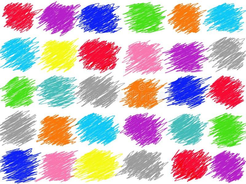 Kolorowego pastelowego doodle kreskowy rysunek odizolowywa na białym tle Kolor kredki ilustracja ilustracja wektor