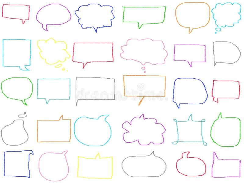 Kolorowego pastelowego doodle mowy bąbla pusty rysunek odizolowywa na białym tle Kolor kredki ilustracja ilustracji