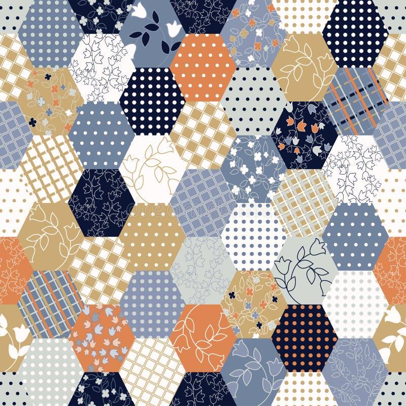 Kolorowego patchworku Bezszwowi wzory. royalty ilustracja
