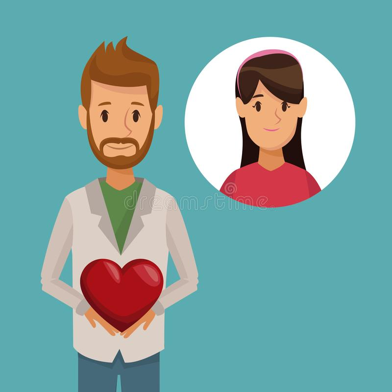 Kolorowego plakatowego przyrodniego ciała brodaty mężczyzna trzyma ikonę z twarzy kobietą i serce royalty ilustracja