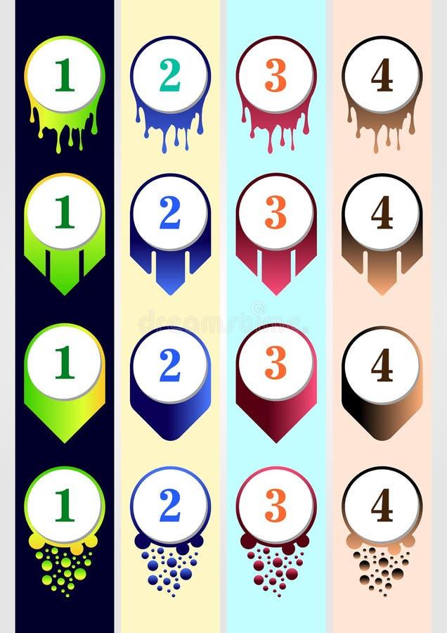 Kolorowego pociska Inkasowy szablon dla zadowolonej biznesowej infographic zawartości royalty ilustracja