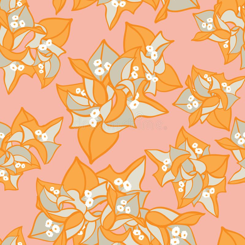 Kolorowego pomarańcz menchii bougainvillea kwiatu kwitnącego lata wektoru kwiecisty bezszwowy wzór dla tkaniny, tapeta royalty ilustracja