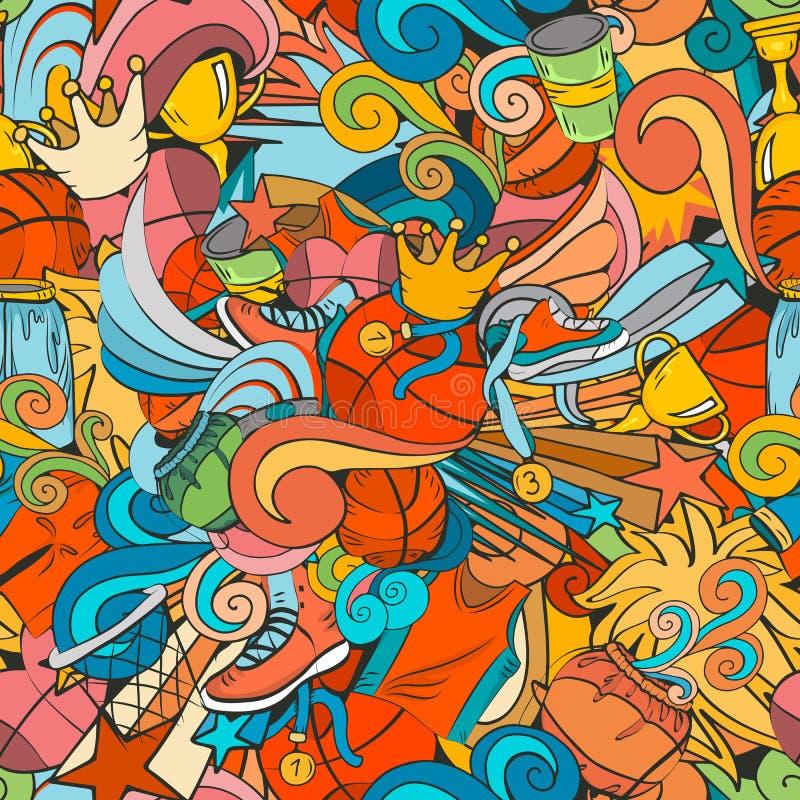 Kolorowego sporta bezszwowy wzór z koszykówki doodle protestuje ilustracja wektor