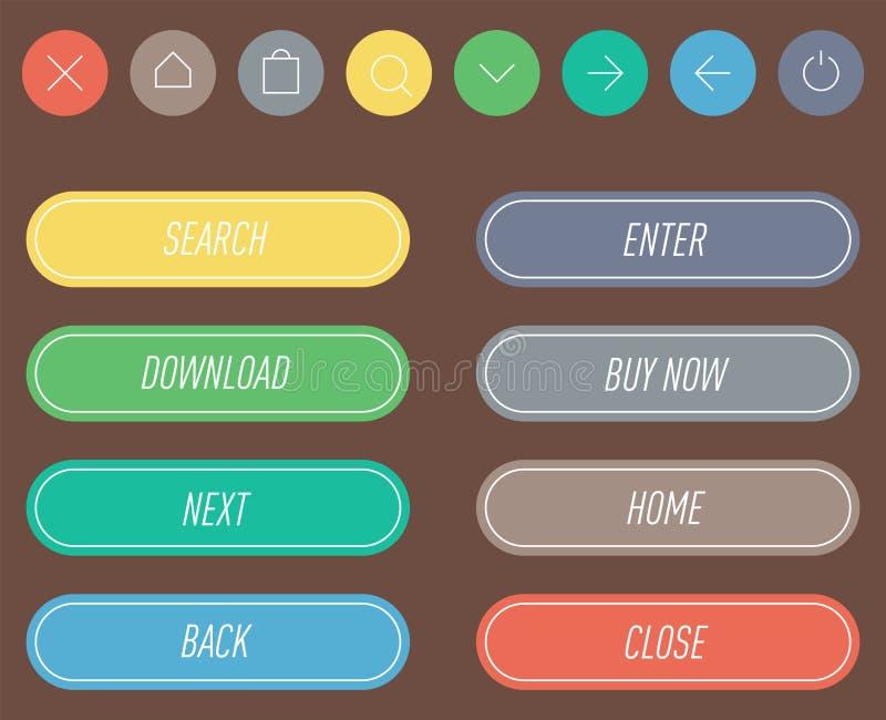 Kolorowego strony internetowej sieci guzików projekta etykietki wektorowy ilustracyjny glansowany graficzny internet potwierdza s royalty ilustracja