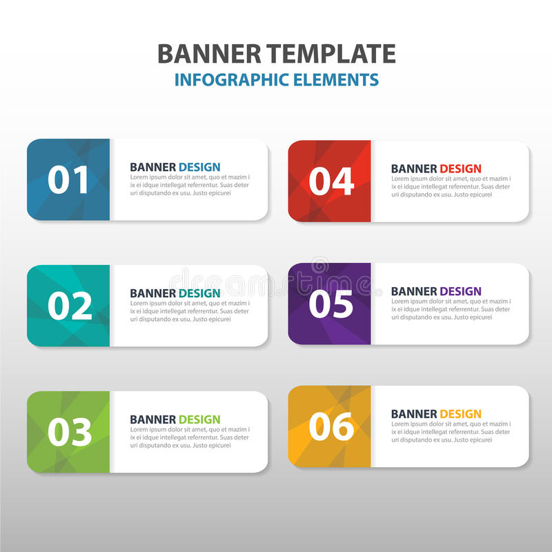 Kolorowego trójboka korporacyjnego biznesu sztandaru abstrakcjonistyczny szablon, horyzontalnego reklamowego infographic układu s ilustracja wektor