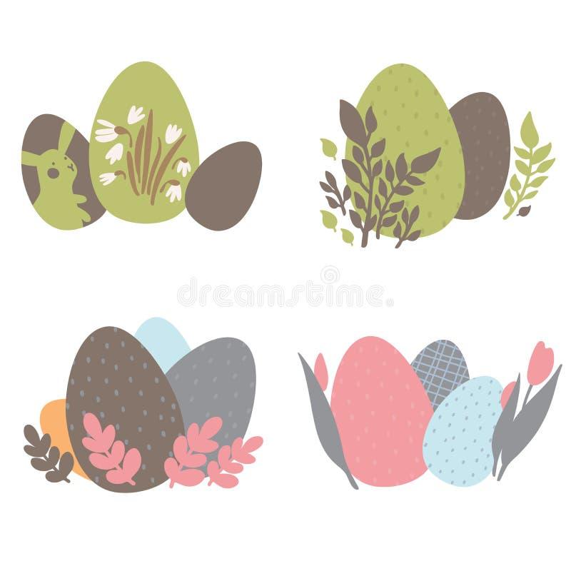 Kolorowego Wielkanocnych jajek Doodle Ustalone dekoracje wiosna kwiat Jaskrawi kolory Wielki dla pocztówki, tkanina, wakacyjni po ilustracja wektor
