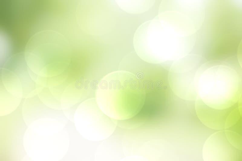 Kolorowej bokeh zieleni tła abstrakcjonistyczna plama, lata pojęcie ilustracji