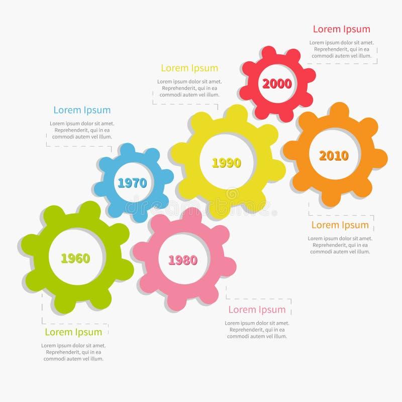 Kolorowej cogwheel przekładni linii czasu infographic szablon Płaski projekt ilustracja wektor