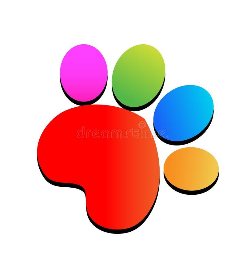 Kolorowej druk łapy ikony zwierzęcy logo ilustracja wektor