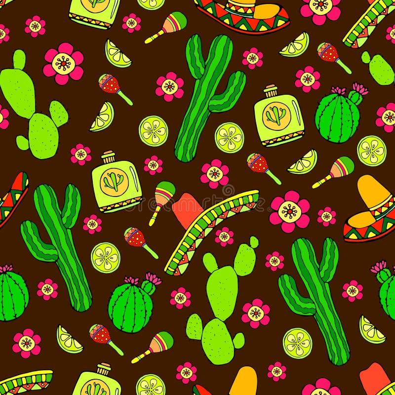 Kolorowej kreskówki pociągany ręcznie Doodles na temat łaciny Amer royalty ilustracja