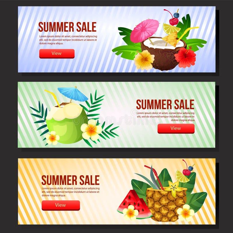 Kolorowej lato sprzedaży sztandaru sieci koktajlu ustalony napój ilustracji
