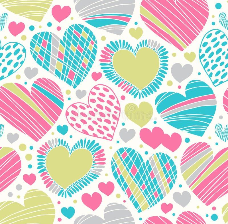 Kolorowej miłości ornamentacyjny wzór z sercami. Bezszwowy skrobaniny tło royalty ilustracja