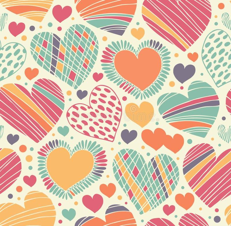 Kolorowej miłości ornamentacyjny wzór z sercami Bezszwowy skrobaniny tło ilustracji