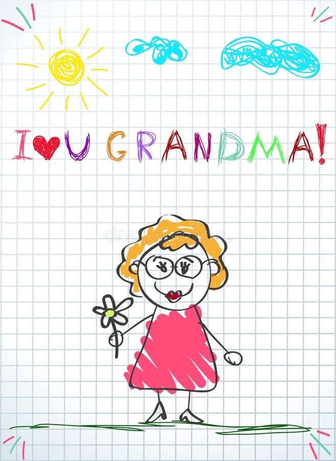Kolorowej ołówkowej ręki rysunkowa wektorowa ilustracja babci mienia kwiat ilustracja wektor