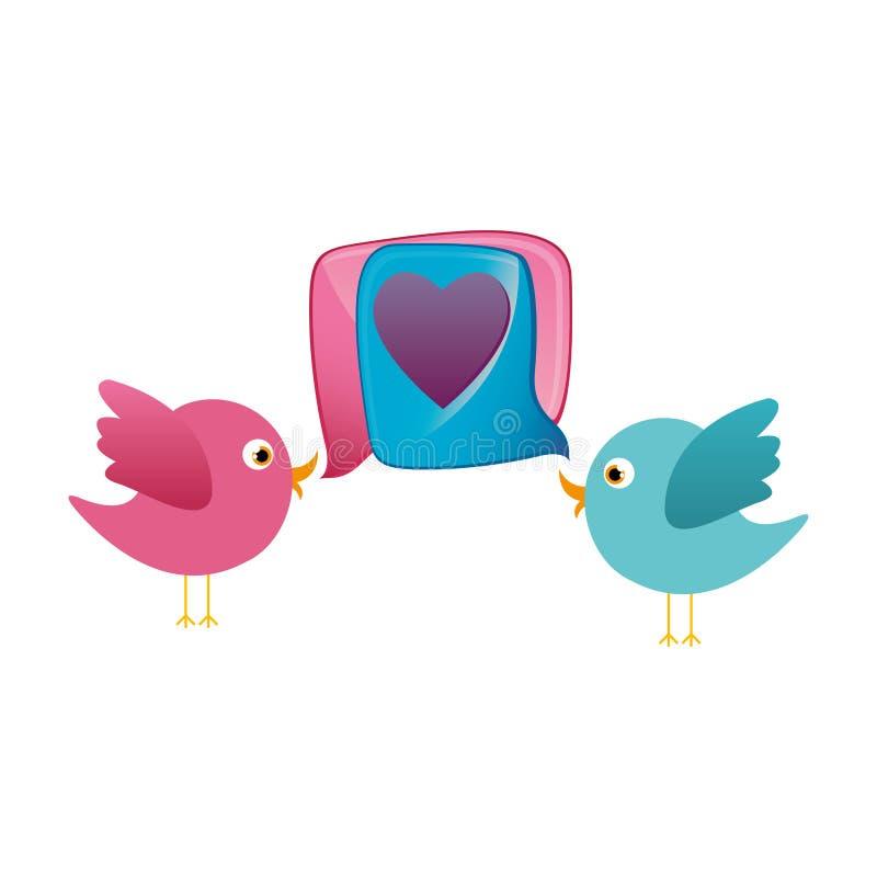 kolorowej pary kreskówki ptasi zwierzę z dialog pudełka serca ikoną ilustracja wektor