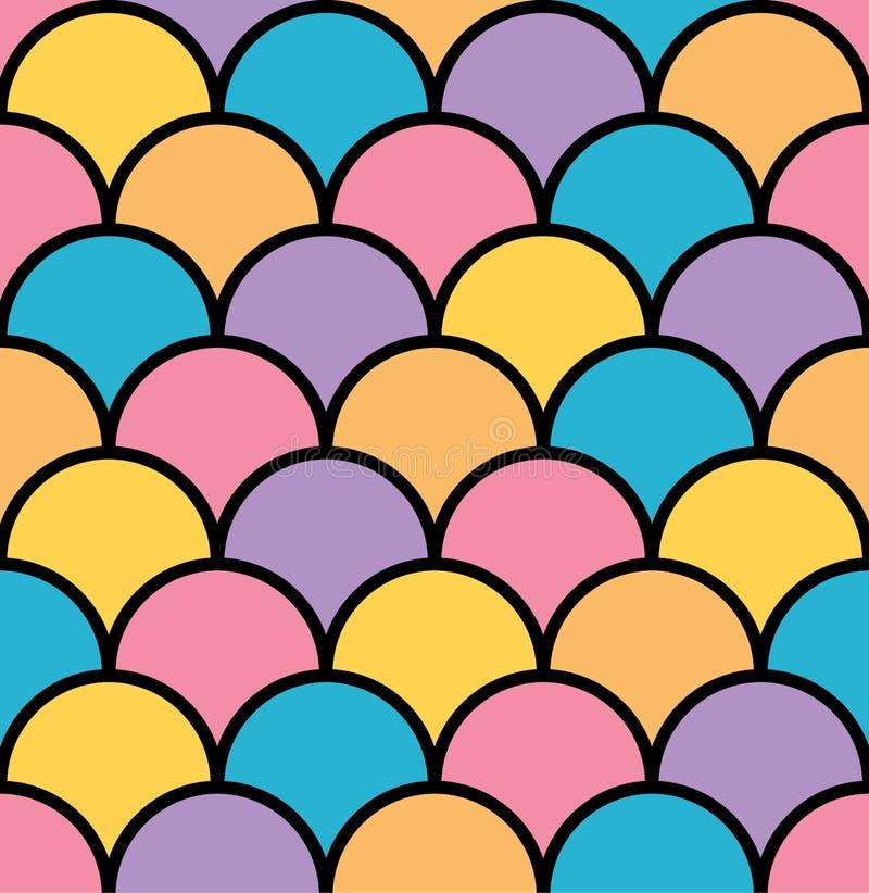 Kolorowej pastel skala bezszwowy deseniowy czarny kontur ilustracji