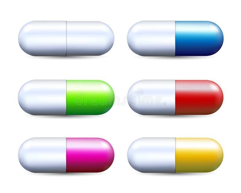 Kolorowej realistycznej kapsuły pigułki ustalona wektorowa ilustracja odizolowywająca na bielu ilustracji