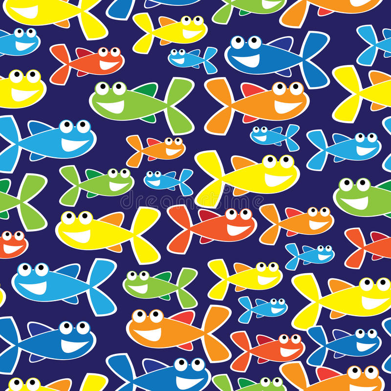 Kolorowej rybiej kreskówki bezszwowa ilustracja royalty ilustracja