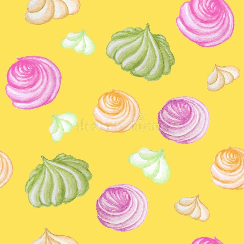 Kolorowej Słodkiej wyśmienicie akwareli bezszwowy wzór z bezą Akwareli r?ka rysuj?ca ilustracja odosobniony zdjęcia stock