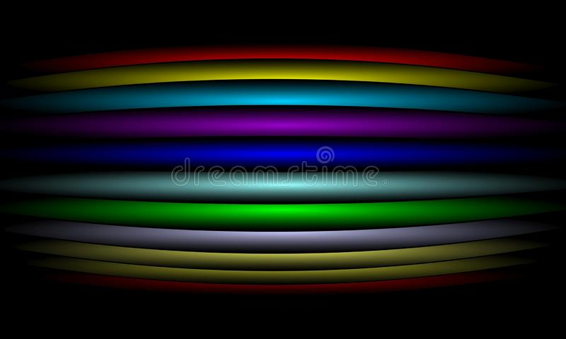 Kolorowej t?czy linii abstrakcjonistyczny t?o z o?wietleniowym skutkiem, g?adka, koszowa, wektorowa ilustracja, ilustracja wektor