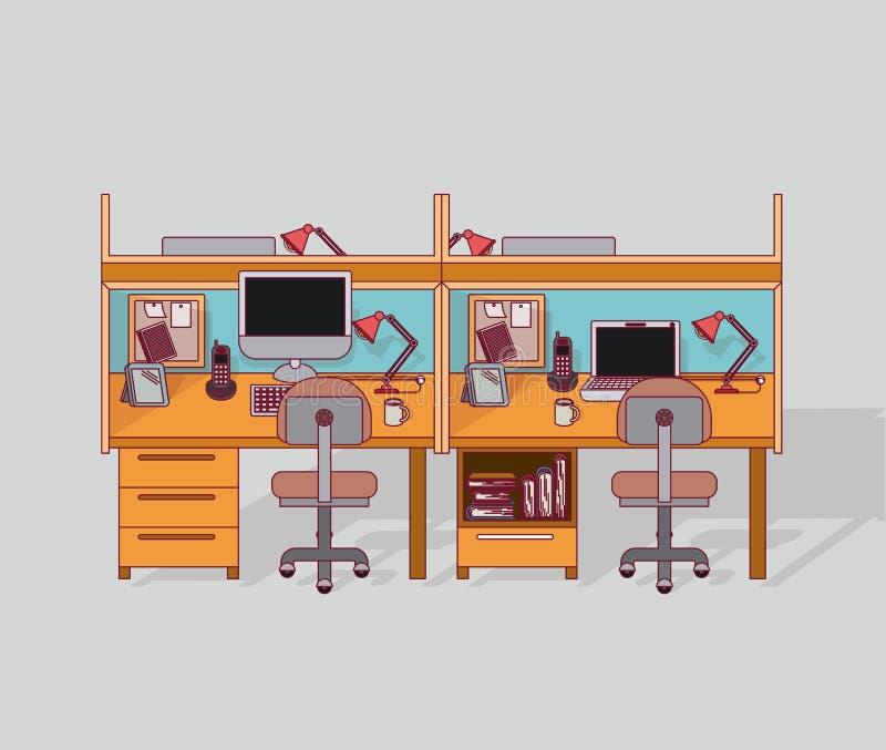 Kolorowej tło kopii miejsce pracy biurowy wnętrze z segregowanie gabinetem z książkami ilustracja wektor
