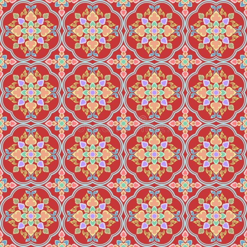 Kolorowej tajlandzkiej sztuki bezszwowy wzór w czerwonym brzmieniu royalty ilustracja
