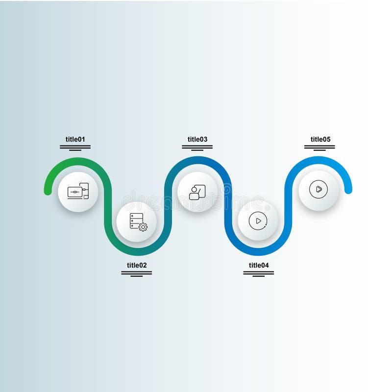 Kolorowej wektorowej linii czasu grafika ewidencyjny układ z pięć krokami ilustracja wektor