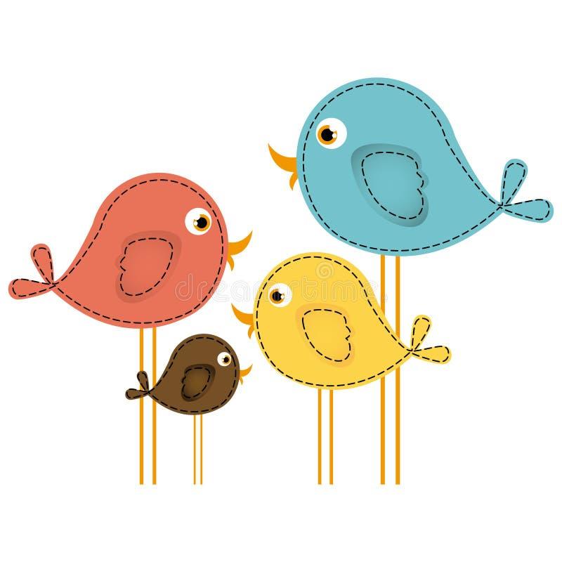 kolorowi śliczni kreskówka ptaki ustawiający ilustracji