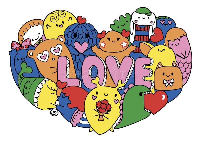 Kolorowi śliczni potwory tworzą w hearted kształcie z list miłością dla drukowanego trójnika, karty, zaproszenia ściągania ilustr ilustracja wektor