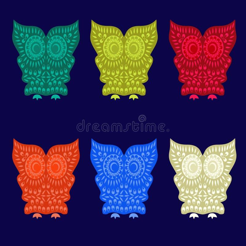 Kolorowi Śliczni sowa charaktery - ilustracja ilustracja wektor