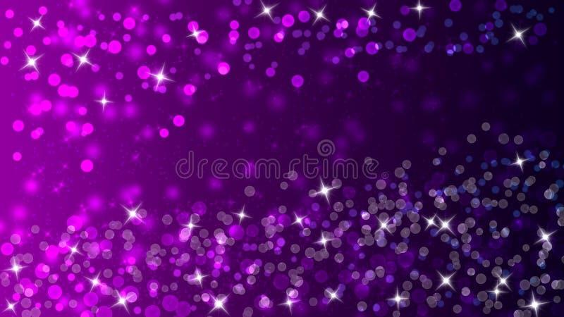 Kolorowi światła, Bokeh i Połyskiwać, Błyskają w Ciemnych Gradated purpurach i fiołka tle ilustracji