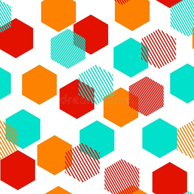 Kolorowi abstrakcjonistyczni prości pasiaści sześciokąty geometryczny bezszwowy wzór, wektor royalty ilustracja