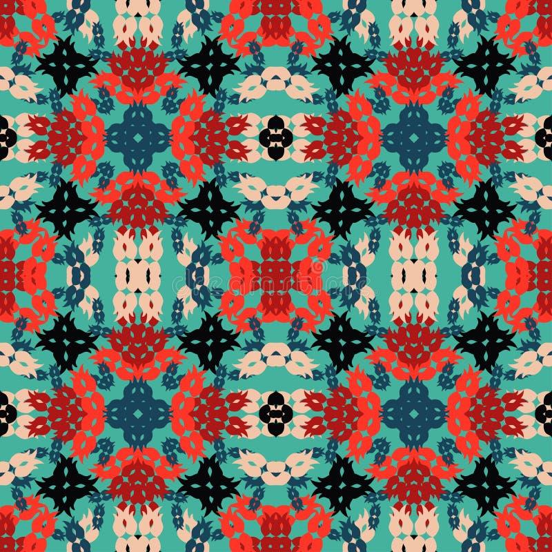 Kolorowi abstrakcjonistyczni przedmioty na błękitnego tła wektoru bezszwowym wzorze royalty ilustracja