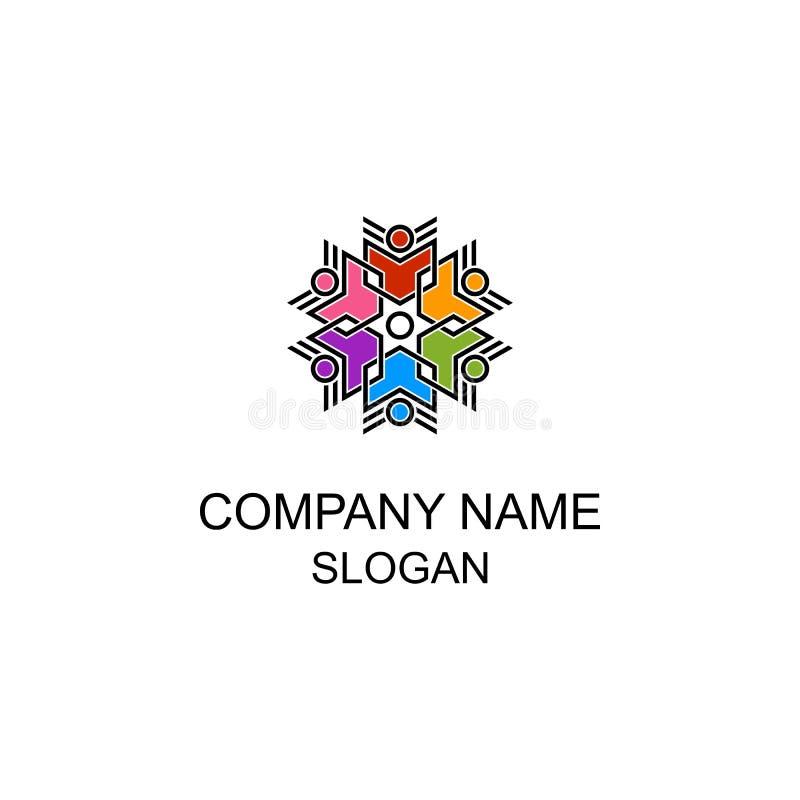 Kolorowi abstrakcjonistyczni szczęśliwi ludzie logo royalty ilustracja