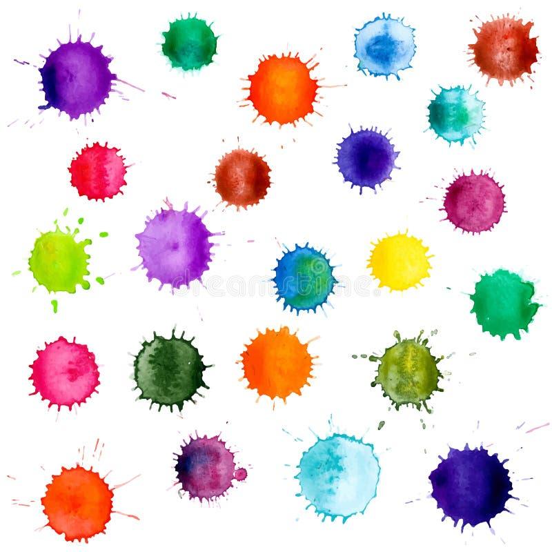 Kolorowi Abstrakcjonistyczni wektorowi atrament farby splats royalty ilustracja