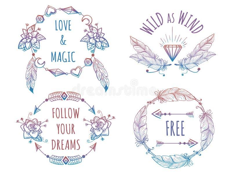 Kolorowi artystyczni sztandary z literowaniem royalty ilustracja