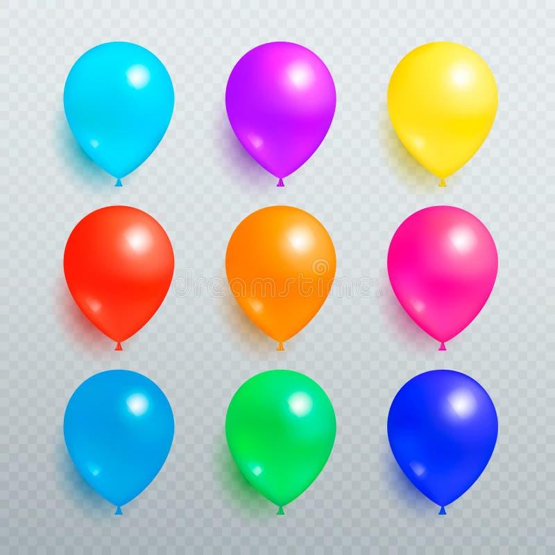 Kolorowi Błyszczący balony na Przejrzystym tle ilustracja wektor
