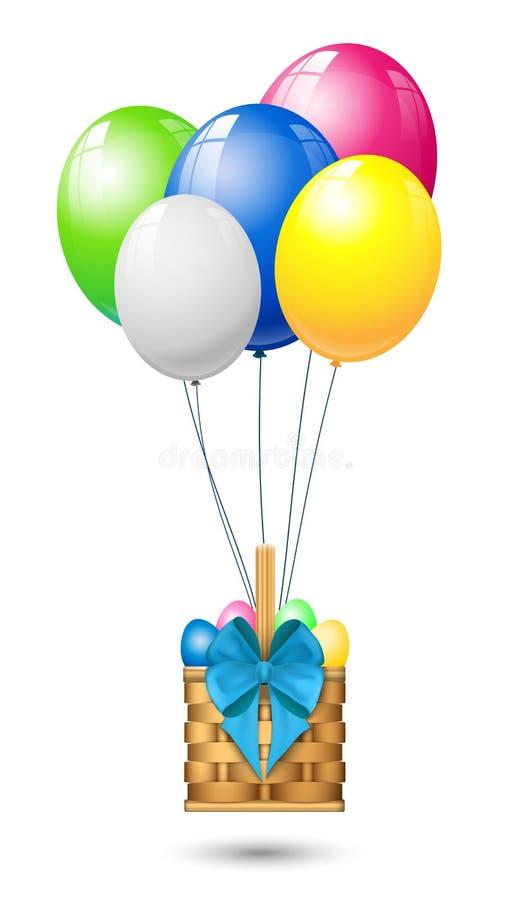 Kolorowi balony, kosz z Easter jajkami i ziobro, ilustracja wektor