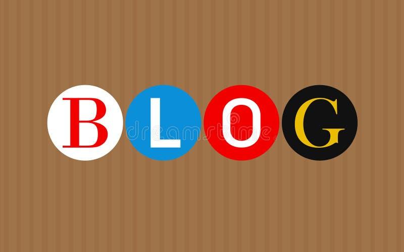 Kolorowi blogów listy nad brąz obdzierającym tłem ilustracyjny lelui czerwieni stylu rocznik royalty ilustracja