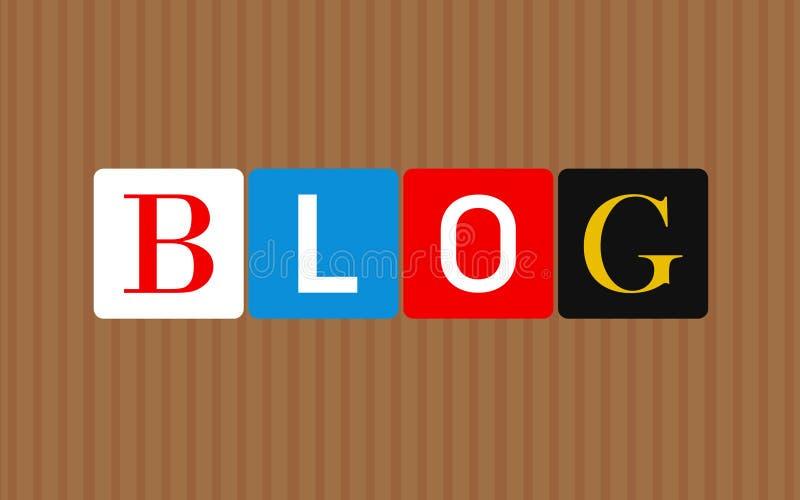 Kolorowi blogów listy nad brąz obdzierającym tłem ilustracyjny lelui czerwieni stylu rocznik ilustracja wektor