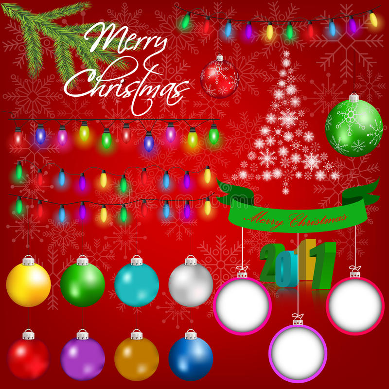 Kolorowi boże narodzenie ornamenty, elementy na czerwonym śnieżnym tle i royalty ilustracja