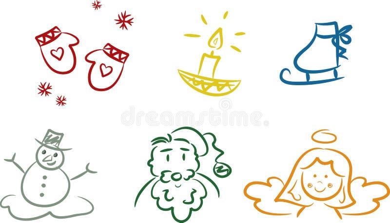 kolorowi Bożych Narodzeń doodles royalty ilustracja