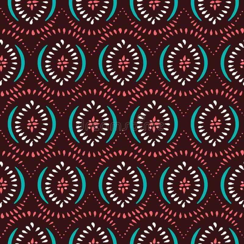 Kolorowi Boho Handdrawn diamenty i łuku Wektorowy Bezszwowy wzór Elegancki Etniczny Tradycyjny tło ilustracji