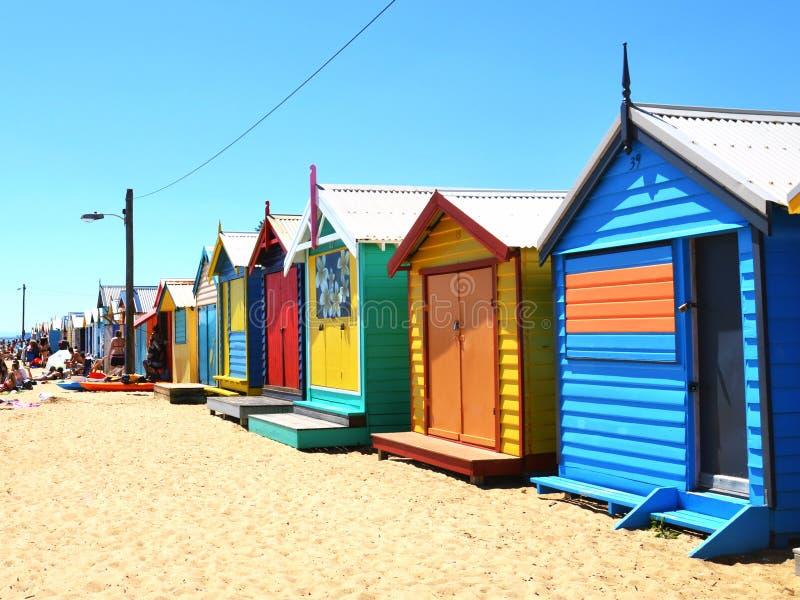 Kolorowi Brighton kąpania pudełka w Melbourne, Australia zdjęcie stock