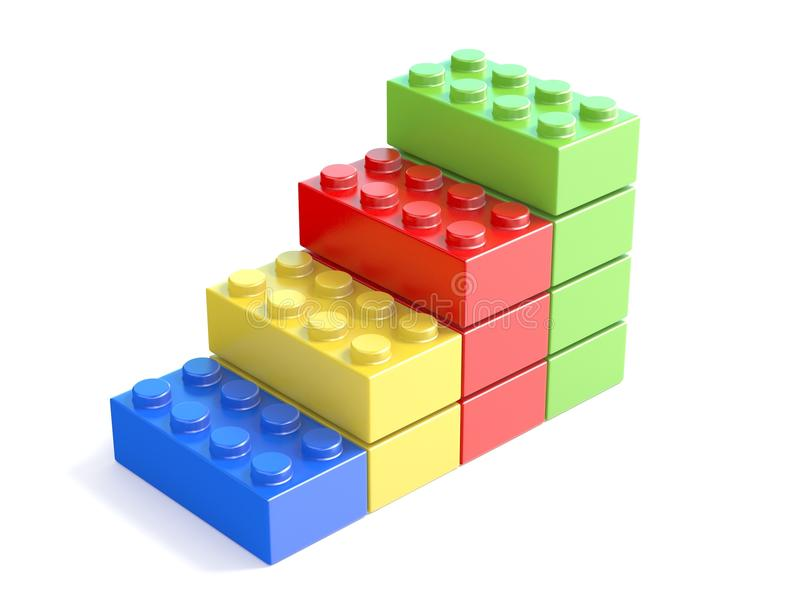 Kolorowi brogujący zabawkarscy elementy, dzieciak zabawka 3d ilustracja wektor